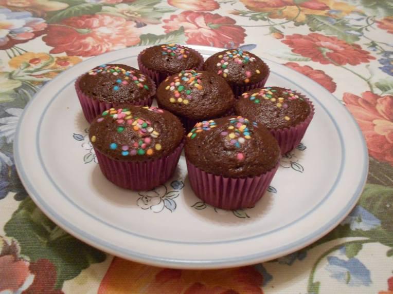 muffins de chocolate confetti