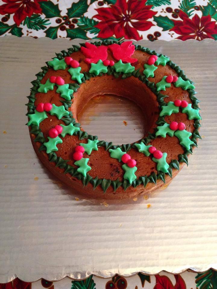 pastel corona navideña