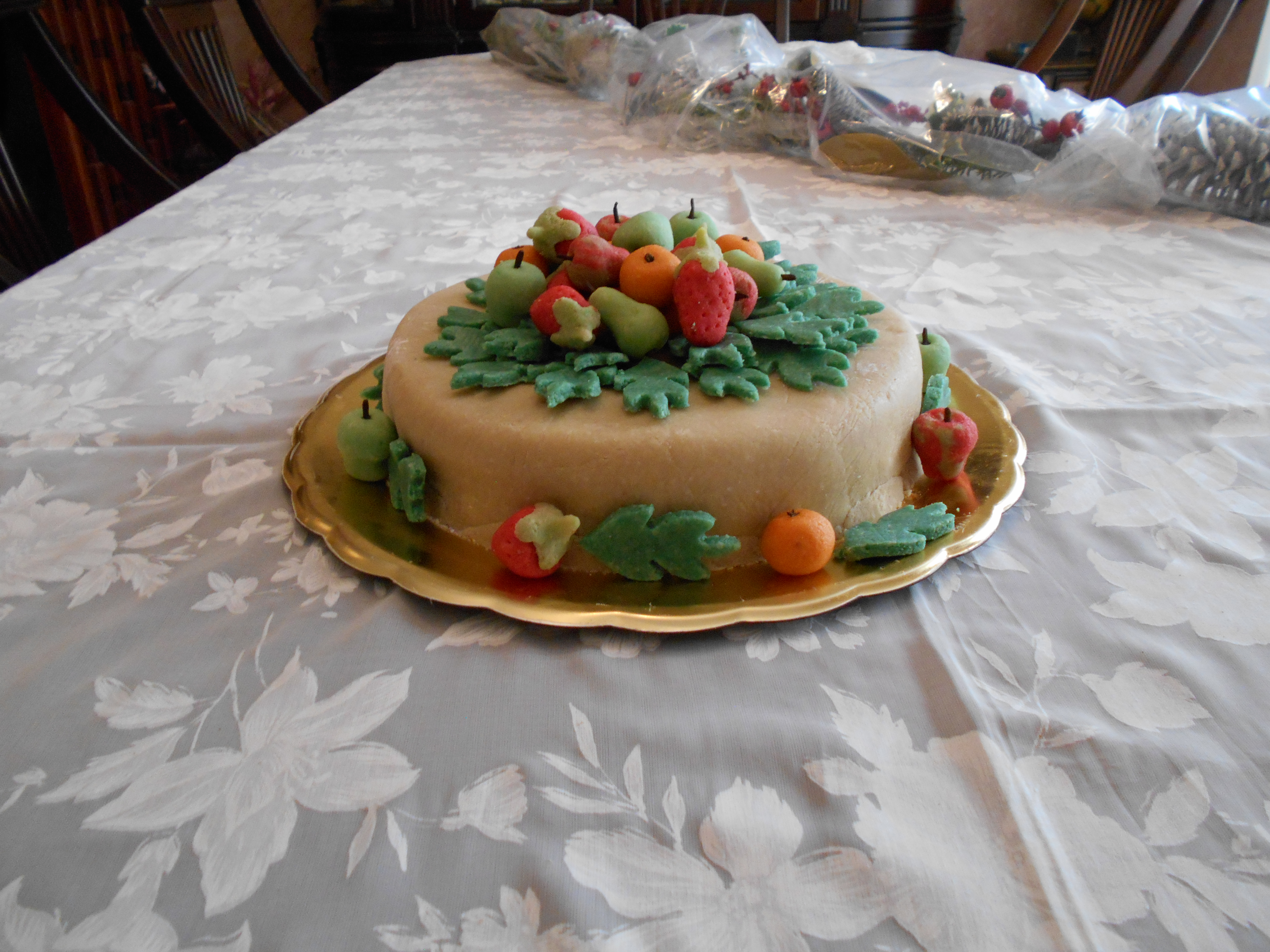 foto pastel con fondant de almendras