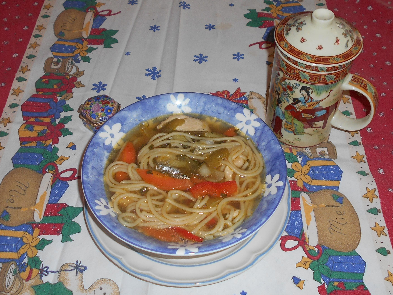 sopa china de pollo y verduras